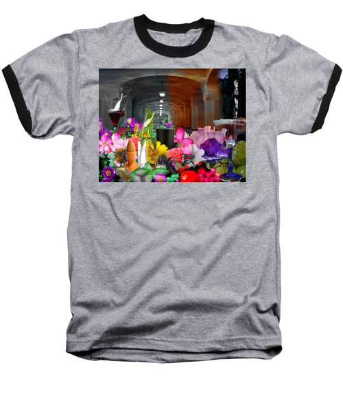 Baseball T-Shirt featuring the digital art The Long Collage by Cathy Anderson