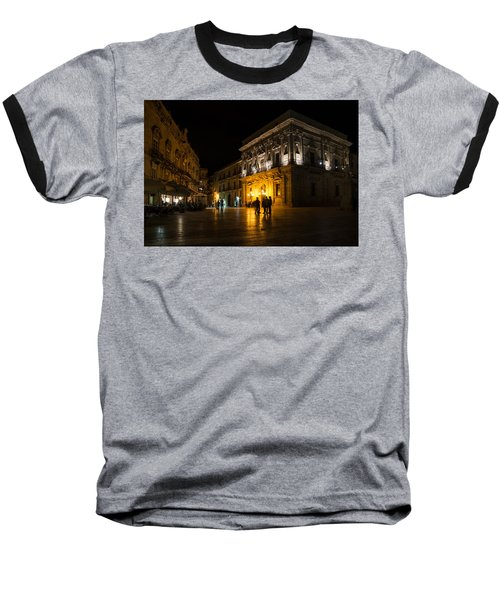 Baseball T-Shirt featuring the photograph The Magical Duomo Square In Ortygia Syracuse Sicily by Georgia Mizuleva