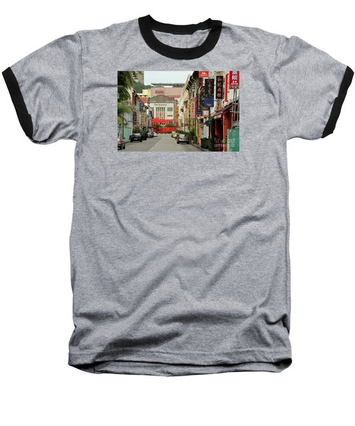 Baseball T-Shirt featuring the photograph The Majestic Theater Chinatown Singapore by Imran Ahmed