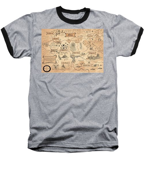 Baseball T-Shirt featuring the painting The Map Of Kira by Reynold Jay
