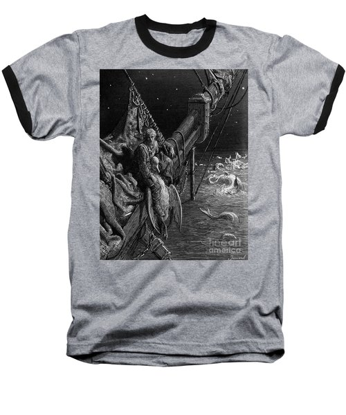 The Mariner Gazes On The Serpents In The Ocean Baseball T-Shirt by Gustave Dore