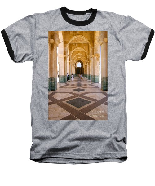 Baseball T-Shirt featuring the photograph The Massive Colonnades At The Hassan II Mosque Sour Jdid Casablanca Morocco by Ralph A  Ledergerber-Photography