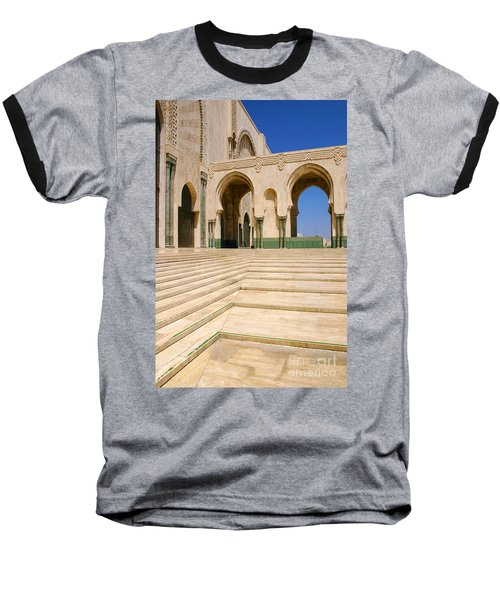 Baseball T-Shirt featuring the photograph The Massive Colonnades Leading To The Hassan II Mosque Sour Jdid Casablanca Morocco by Ralph A  Ledergerber-Photography