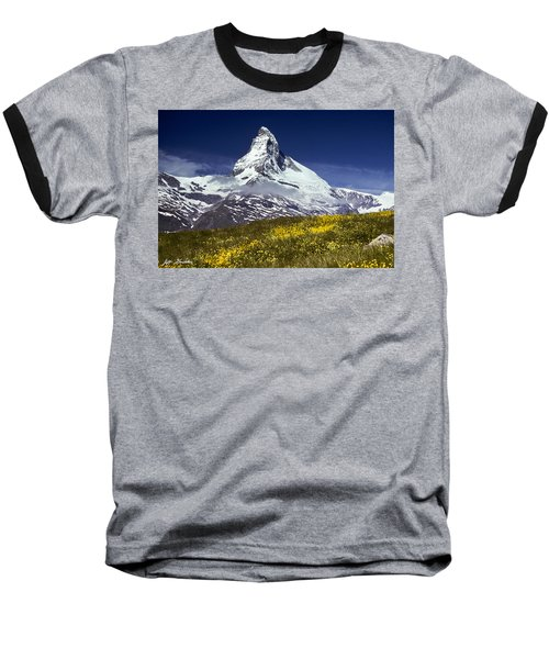 The Matterhorn With Alpine Meadow In Foreground Baseball T-Shirt