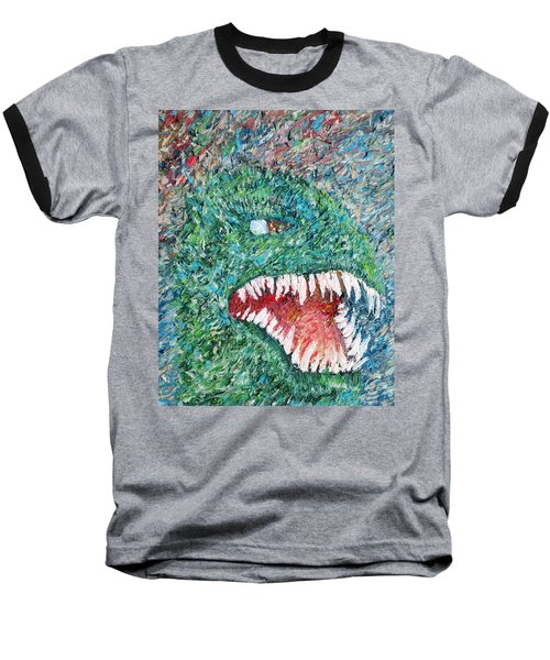 The Might That Came Upon The Earth To Bless - Godzilla Portrait Baseball T-Shirt by Fabrizio Cassetta