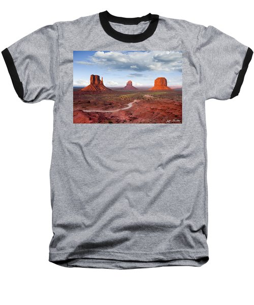 The Mittens And Merrick Butte At Sunset Baseball T-Shirt by Jeff Goulden