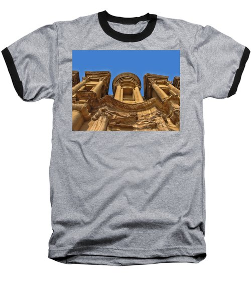Baseball T-Shirt featuring the photograph The Monastery In Petra by David Gleeson