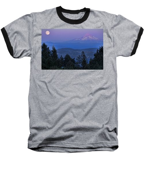 The Moon Beside Mt. Hood Baseball T-Shirt