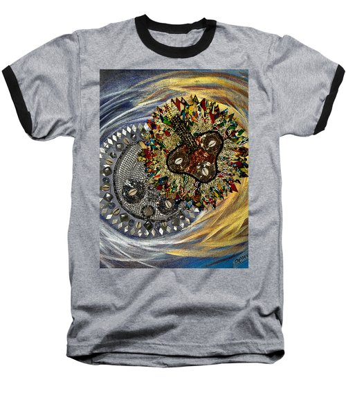 Baseball T-Shirt featuring the tapestry - textile The Moon's Eclipse by Apanaki Temitayo M