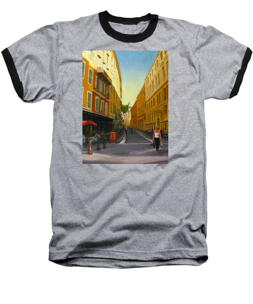 The Morning's Shopping In Vieux Nice Baseball T-Shirt by Connie Schaertl
