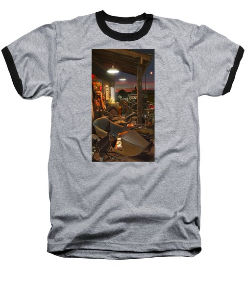 The Motorcycle Shop 2 Baseball T-Shirt by Mike McGlothlen
