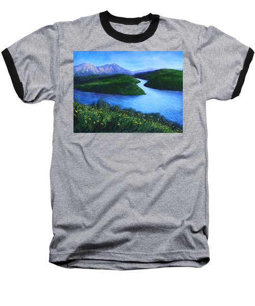 Baseball T-Shirt featuring the painting The Mountains Beyond by Penny Birch-Williams
