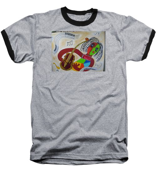 Baseball T-Shirt featuring the painting The Music Practitioner by Sharyn Winters