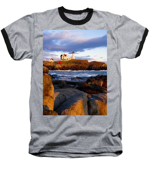 The Nubble Lighthouse Baseball T-Shirt by Steven Ralser