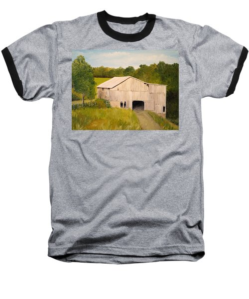 Baseball T-Shirt featuring the painting The Old Barn by Alan Lakin