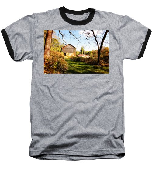 Baseball T-Shirt featuring the photograph The Old Barn by Trina  Ansel