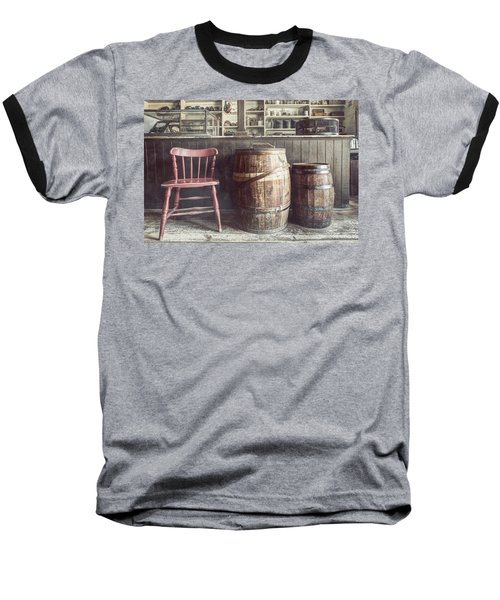 The Old General Store - Red Chair And Barrels In This 19th Century Store Baseball T-Shirt