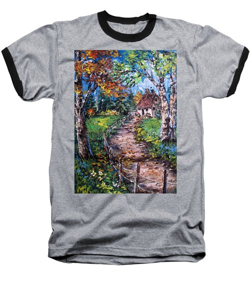 Baseball T-Shirt featuring the painting The Old Homestead by Megan Walsh