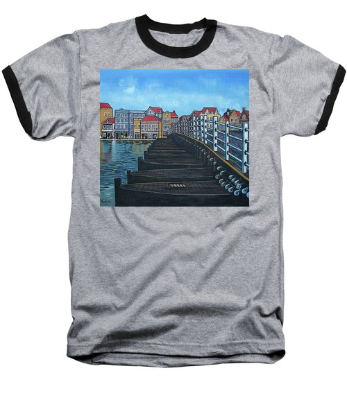 The Old Queen Emma Bridge In Curacao Baseball T-Shirt by Frank Hunter