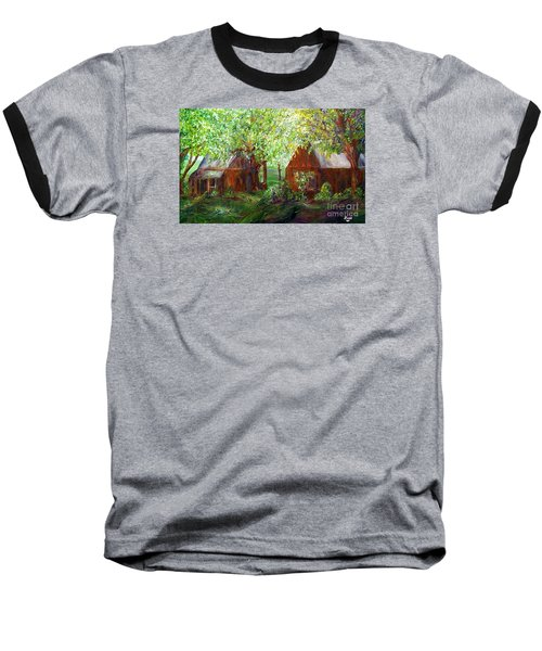 Baseball T-Shirt featuring the painting The Old Swing Between The House And The Barn by Eloise Schneider