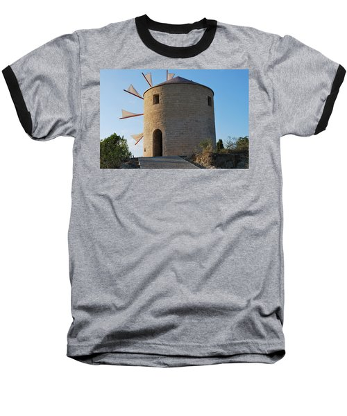 The Old Windmill 1830 Baseball T-Shirt by George Katechis