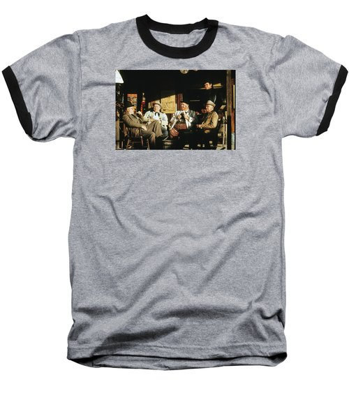 Baseball T-Shirt featuring the photograph The Over The Hill Gang  Johnny Cash Porch Old Tucson Arizona 1971 by David Lee Guss