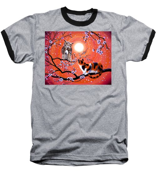 The Owl And The Pussycat In Peach Blossoms Baseball T-Shirt by Laura Iverson