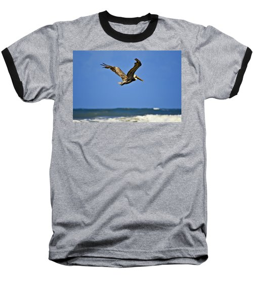 Baseball T-Shirt featuring the photograph The Pelican And The Sea by DigiArt Diaries by Vicky B Fuller