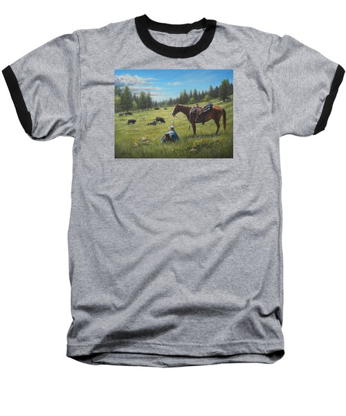 Baseball T-Shirt featuring the painting The Perfect Day by Kim Lockman