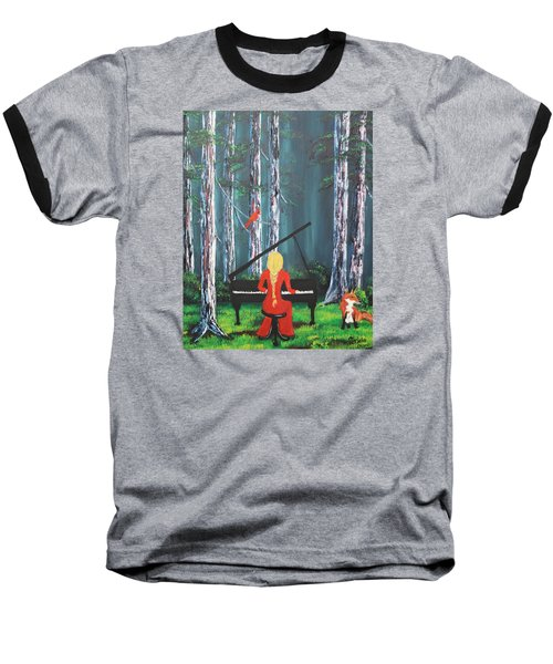 The Pianist In The Woods Baseball T-Shirt by Patricia Olson