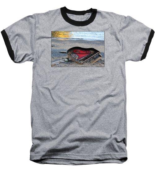 The Piano In New York Harbor Baseball T-Shirt by Dora Sofia Caputo Photographic Art and Design