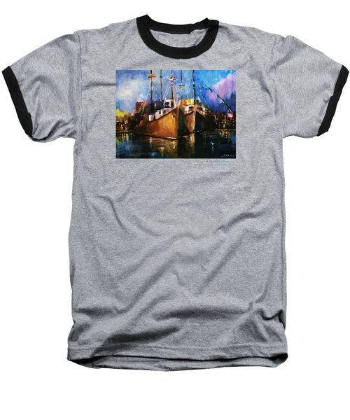 Baseball T-Shirt featuring the painting The Pier At Sunset by Al Brown