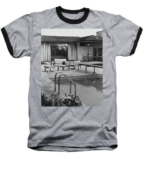 The Pool And Pavilion Of A House Baseball T-Shirt