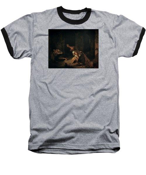 The Prisoner Of Chillon Baseball T-Shirt by Ferdinand Victor Eugene Delacroix