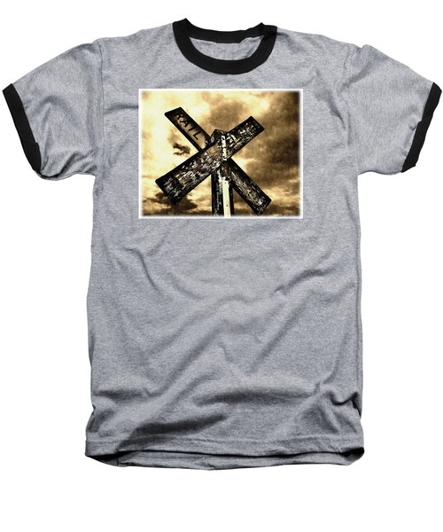 Baseball T-Shirt featuring the photograph The Railroad Crossing by Glenn McCarthy Art and Photography