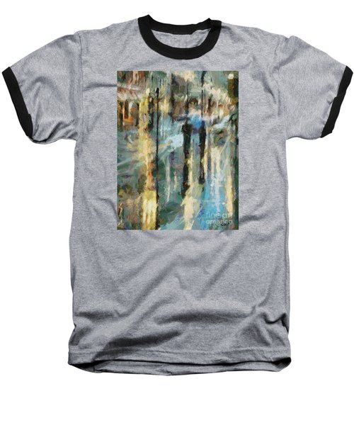 Baseball T-Shirt featuring the painting The Rain In Paris by Dragica  Micki Fortuna