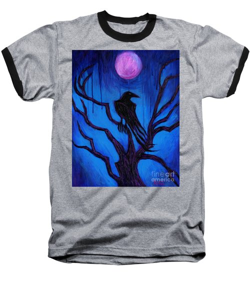 Baseball T-Shirt featuring the painting The Raven Nevermore by Roz Abellera Art