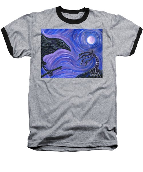 Baseball T-Shirt featuring the painting The Raven by Roz Abellera Art