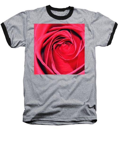 Baseball T-Shirt featuring the painting The Red Rose Blooming by Karon Melillo DeVega