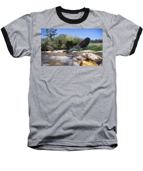 Baseball T-Shirt featuring the photograph The River Dragonfly by Stwayne Keubrick