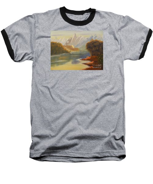 The River Flowing From A High Mountain Baseball T-Shirt