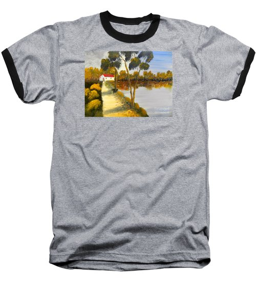 Baseball T-Shirt featuring the painting The Riverhouse by Pamela  Meredith