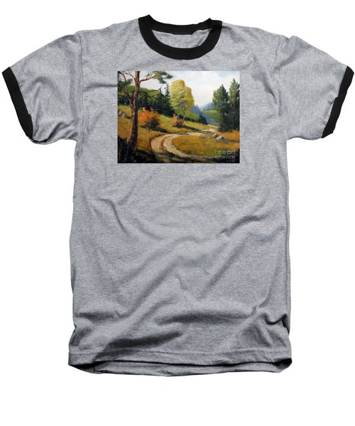The Road Not Taken Baseball T-Shirt by Lee Piper