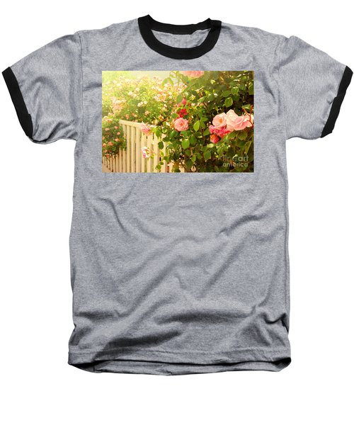 The Scent Of Roses And A White Fence Baseball T-Shirt