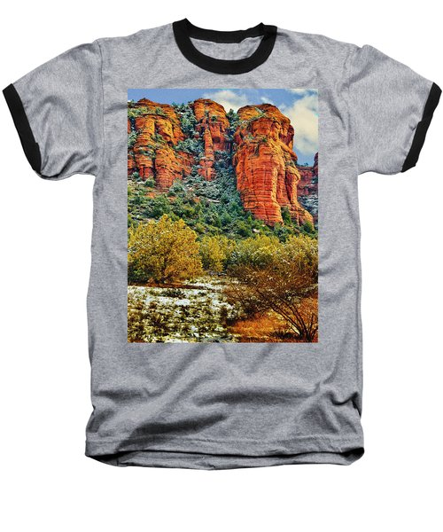 Baseball T-Shirt featuring the photograph The Secret Mountain Wilderness In Sedona Back Country by Bob and Nadine Johnston