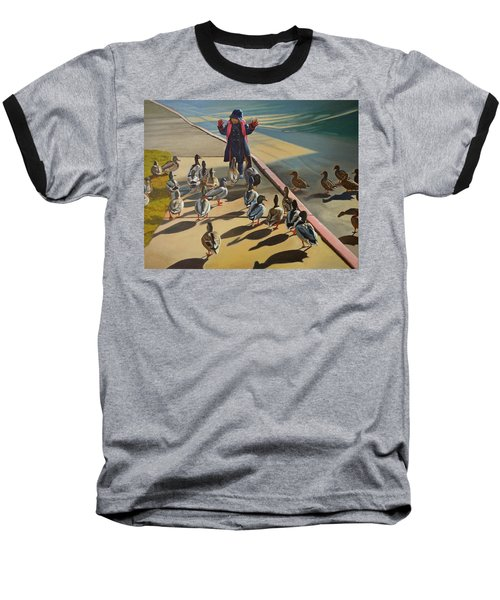 Baseball T-Shirt featuring the painting The Sidewalk Religion by Thu Nguyen