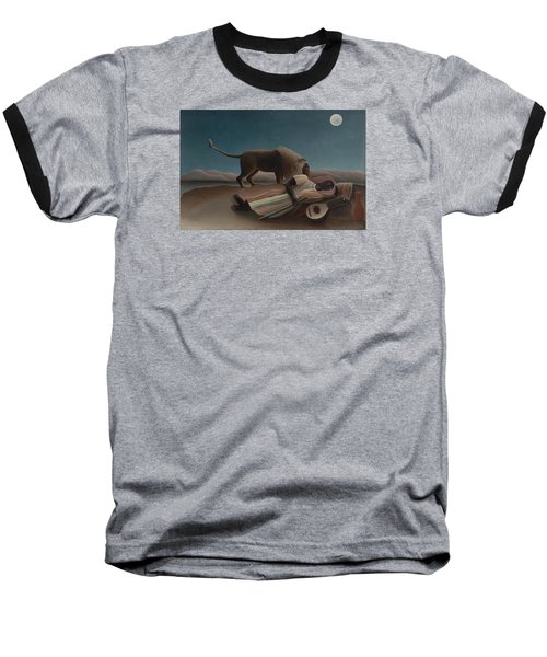 The Sleeping Gypsy Baseball T-Shirt by Henri Rousseau