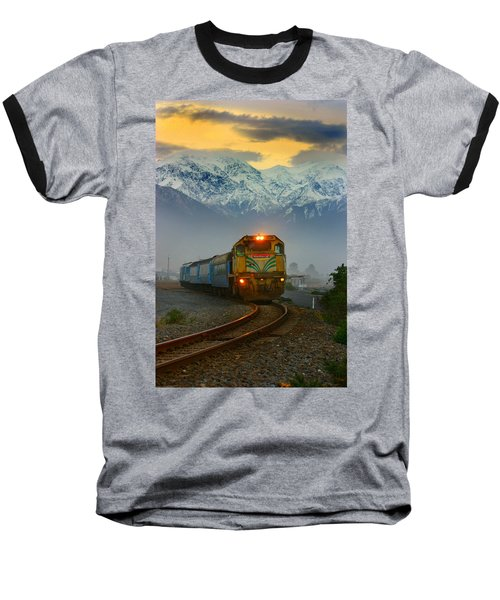 The Southerner Train New Zealand Baseball T-Shirt by Amanda Stadther