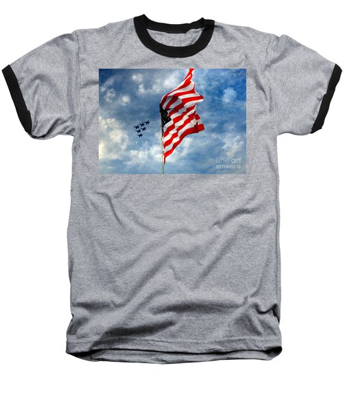 The Star Spangled Banner Yet Waves Baseball T-Shirt by Lydia Holly