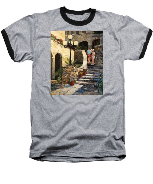 Baseball T-Shirt featuring the painting The Steps by Alan Lakin